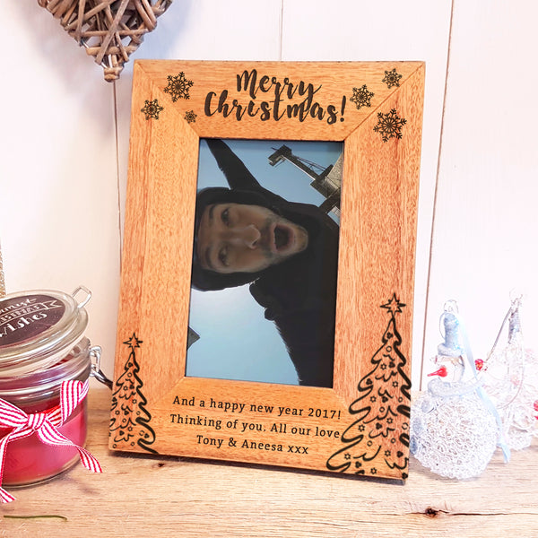 Merry Christmas engraved photoframe personalised christmas gift - portrait