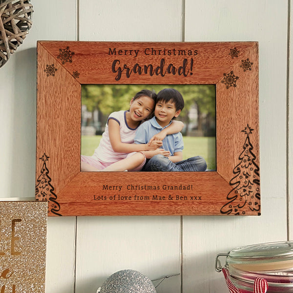 Merry Christmas Grandad Engraved photoframe