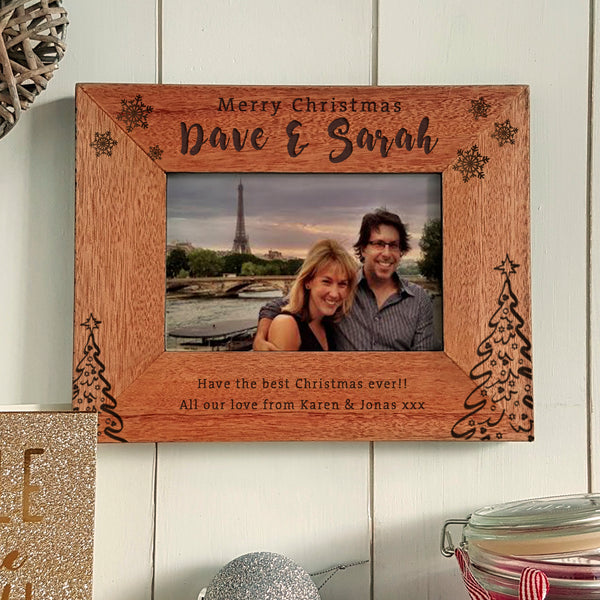Merry Christmas + Name Engraved photoframe