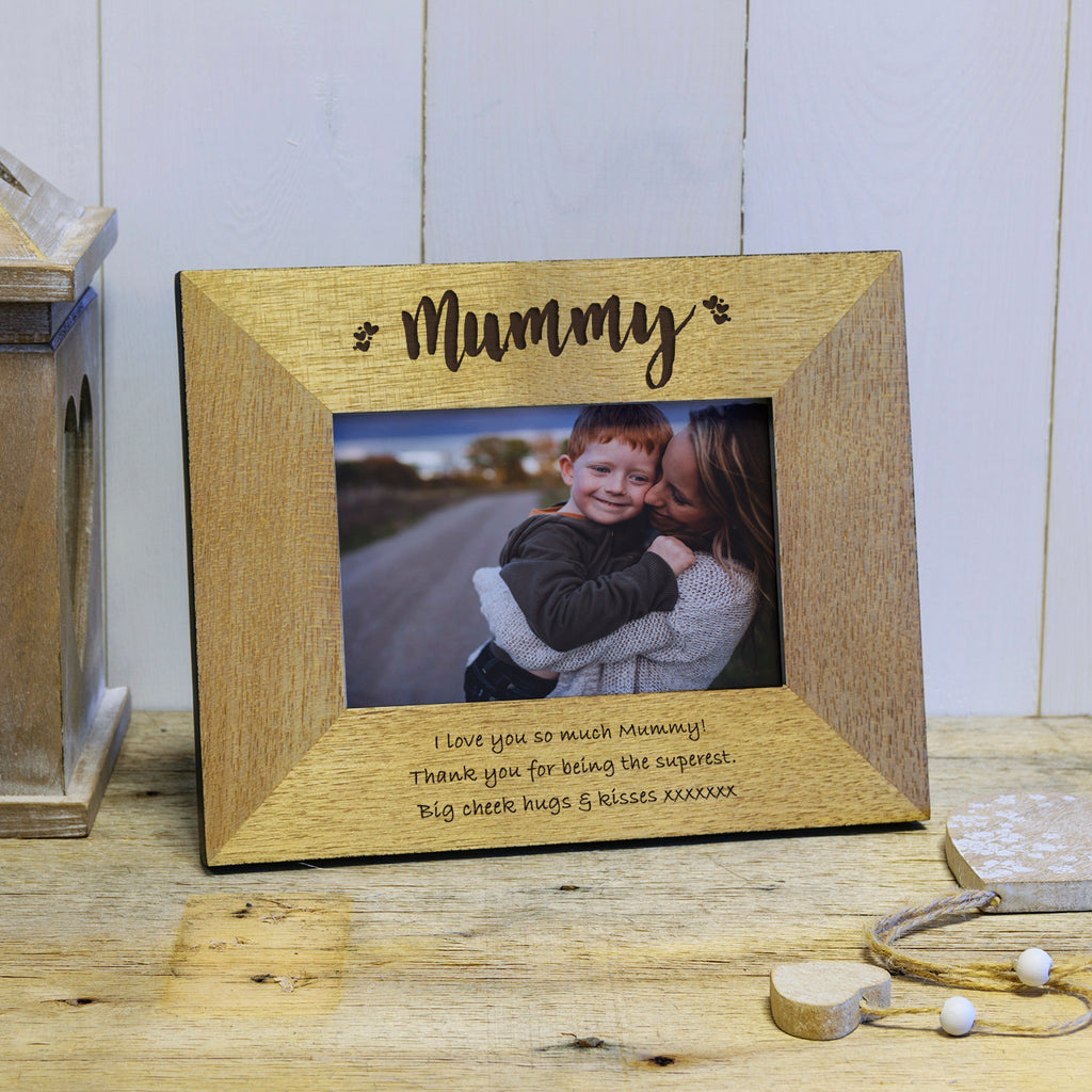 Mummy! Engraved Wood Photo Frame