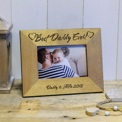 Best Daddy ever engraved wooden photoframe - landscape