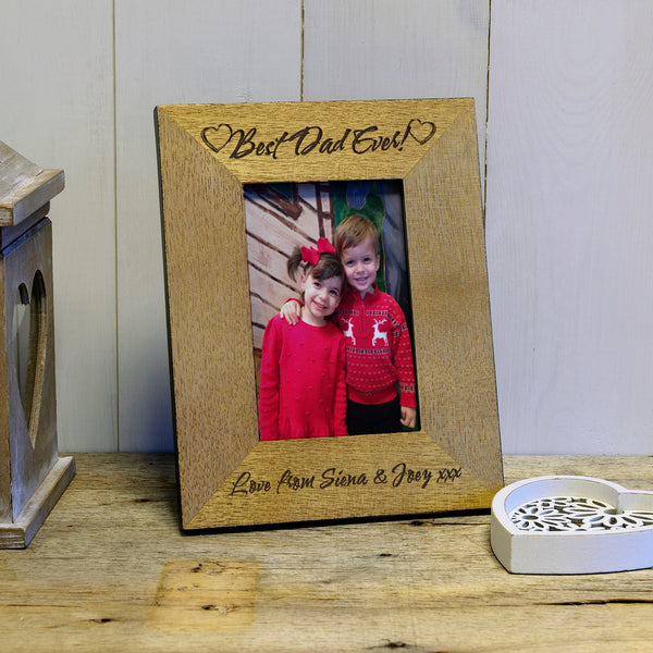 Best Dad Ever personalised engraved wooden photo frame - portrait