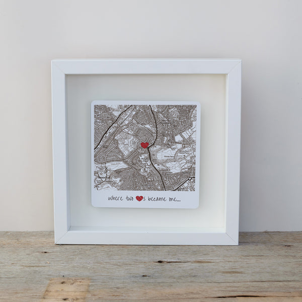 Where 2 hearts became 1 box frame map gift - vintage style white frame