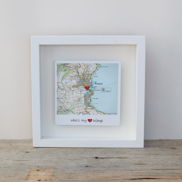 Where my heart belongs personalised map box frame. Wall art gift for the home - white frame