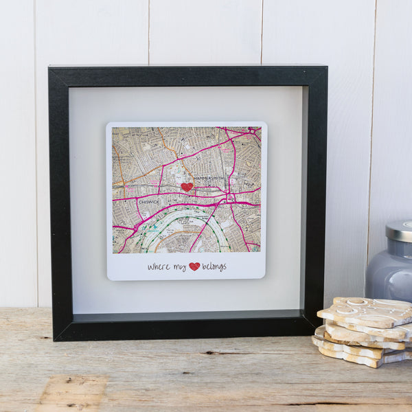 Where my heart belongs personalised map box frame. Wall art gift for the home - black frame