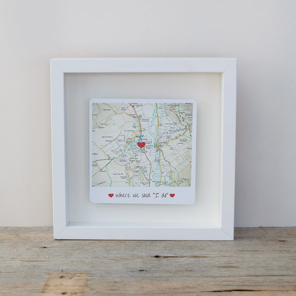 Where we said I do personalised box frame wedding gift - white frame