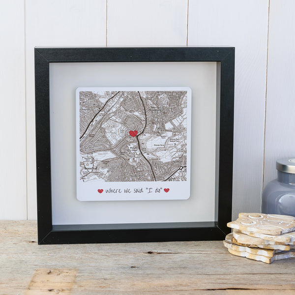 Where we said I do personalised box frame wedding gift - Vintage - black frame