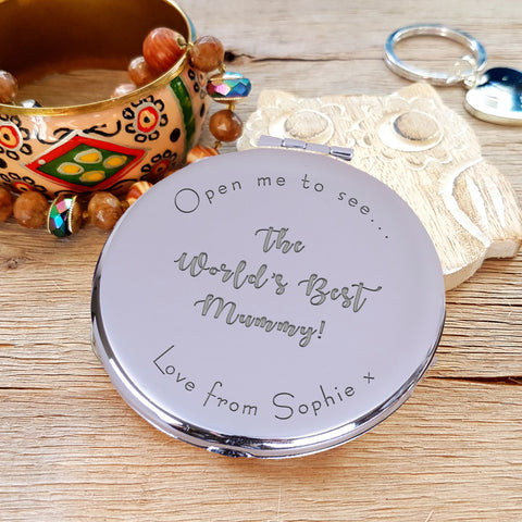 "Engraved Round Compact Mirror - ""Open me to see... the world's best mummy"" mother's day gift"