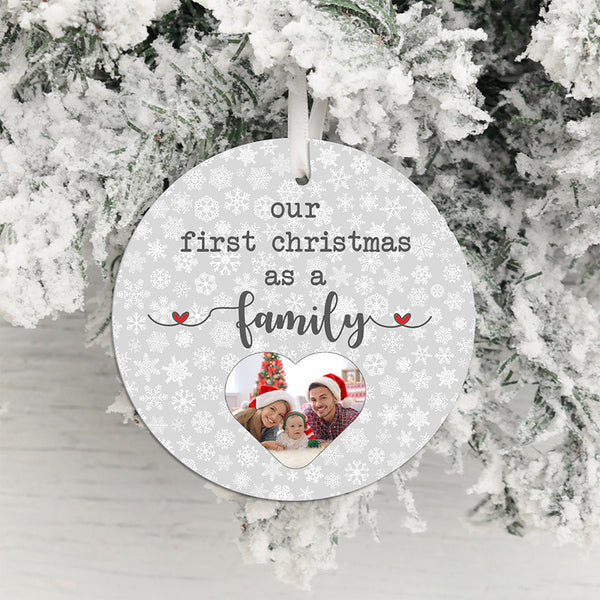 First Christmas as a Family Photo Upload Hanging Decoration