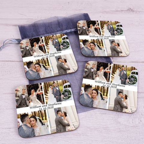 Personalised Photo Upload Wedding Coaster Set