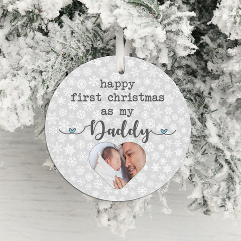Daddy's First Christmas Photo Upload Hanging Decoration