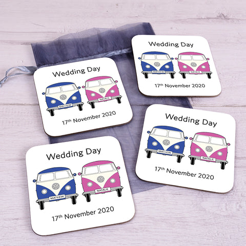 Personalised Couple Camper Van Coaster Set