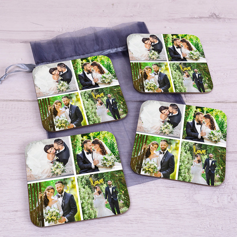 4 Photo Upload Coaster Set