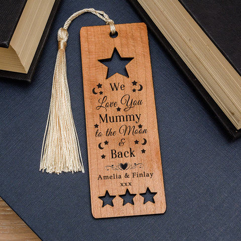 Wooden Bookmark - Moon & Back