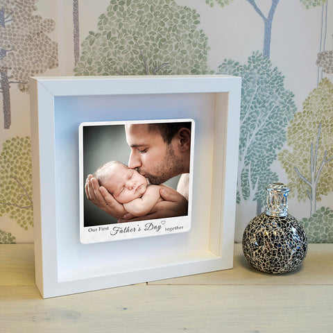 First Fathers Day Floating Metal Photo Box Frame