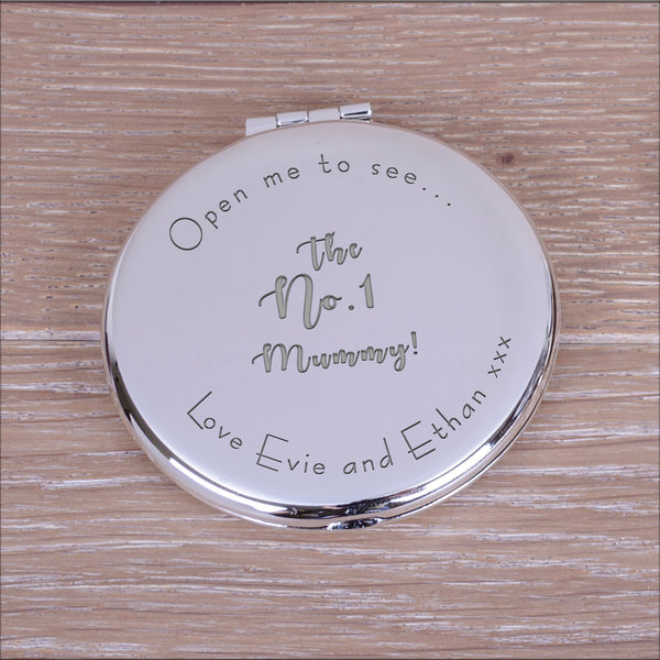 "Engraved Round Compact Mirror - ""Open me to see... the no.1 mummy"" mother's day gift"