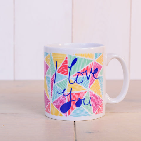 "Front of ""Bright Funky Love"" personalised mug from Vicky Yorke"