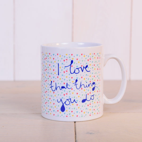 """That Thing You Do"" hearts pattern personalised gift mug - front - Image 2"