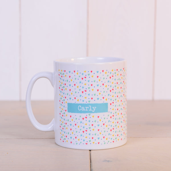 """That Thing You Do"" hearts pattern personalised Valentine's gift mug - back"