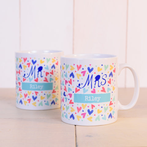 """Mr & Mrs"" Confetti Hearts Personalised Matching Mug Set"