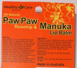 Healthy Care Paw Paw (Rosehip & Manuka) Lip Balm 10g (Made in Australia)