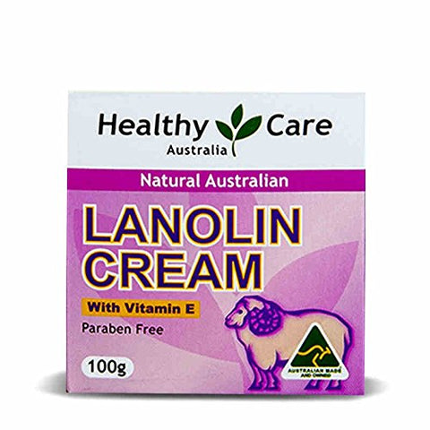 Healthy Care Natural Lanolin & Vitamin E Cream 100g made in Australia, with one gift