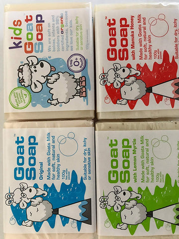 Goat Soap Variety Pack - 1 x Original 1 x Lemon Myrtle 1 x Manuka Honey 1 x Kids Soap