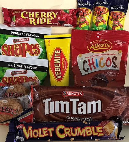 Best of Australia - Tim Tam, Vegemite, Arnotts Biscuits, Caramello Koala, BBQ Shapes, Chicos, Cherry Ripe and Violet Crumble.