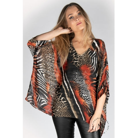 Mazing JOLIE tunic ANIMAL Rust - Welike