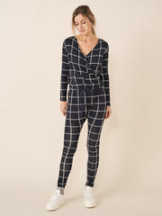 Comfy Copenhagen Jumpsuit Heat Of The Night Navy checkered - Welike