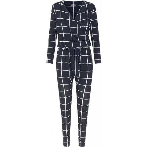 Comfy Copenhagen Jumpsuit Heat Of The Night Navy checkered