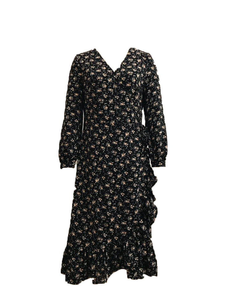 Clarine Wrap Dress Print Black Flowers