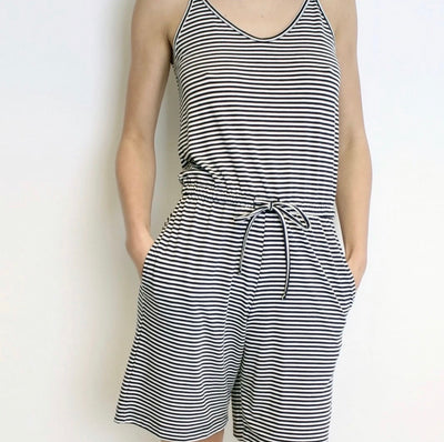 Comfy Copenhagen Jumpsuit Bad Feeling Navy/White Stripe - Welike