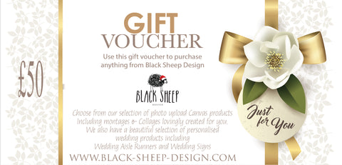 Gift voucher buy now as a present for christmas can be used on all products on Black Sheep Design