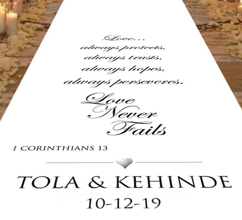 aisle runner 1 corintians love always protects peronsalised bride and groom wedding bible reading