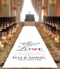 Personalised wedding aisle runner, canvas
