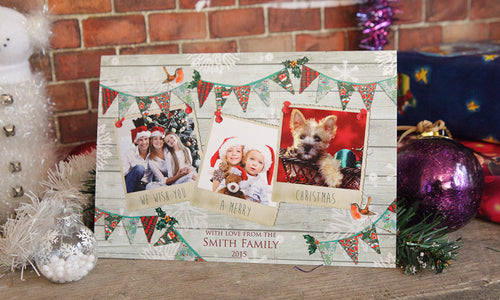 Bunting Personalised Christmas Card
