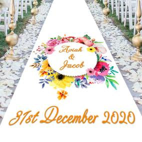 personalised wedding aisle runner water colour floral