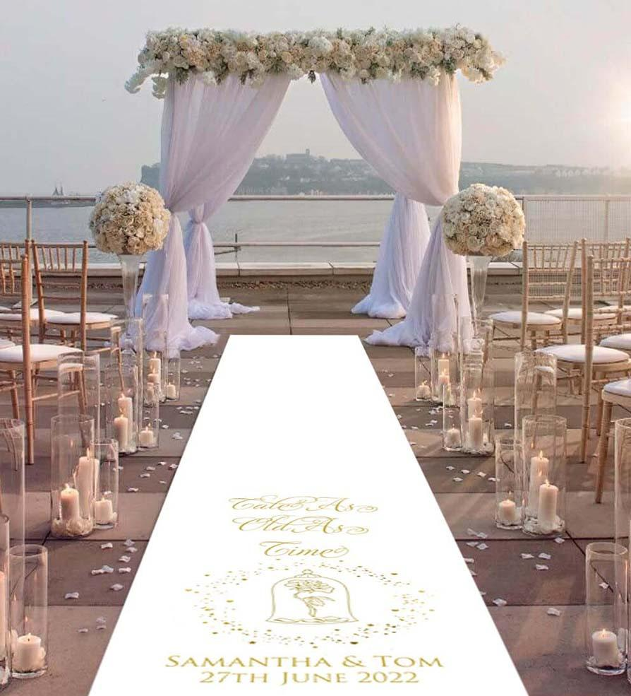 personalised wedding aisle runner simple enchanted rose beauty and the beast tale as old as time