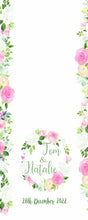 personalised wedding Aisle Runner water colour rose border printed throughout aisle runner