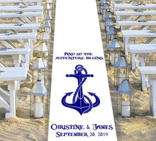 Load image into Gallery viewer, nautical themed wedding aisle runner personalised biggest adventure