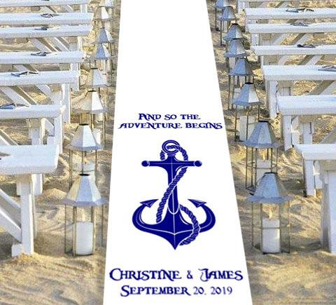 nautical themed wedding aisle runner personalised biggest adventure