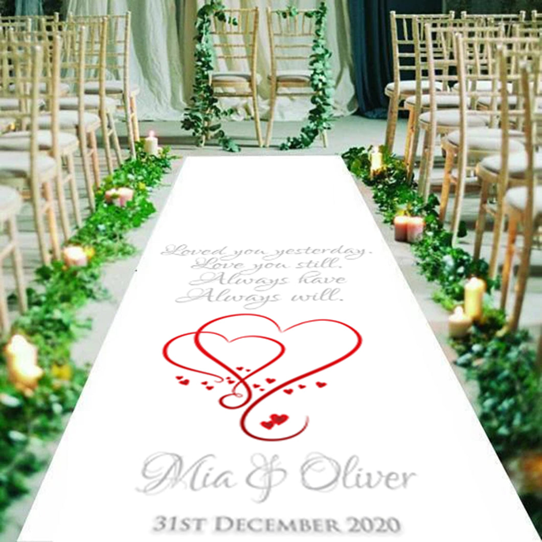 A beautiful, personalised, Wedding Aisle runner, with the quote