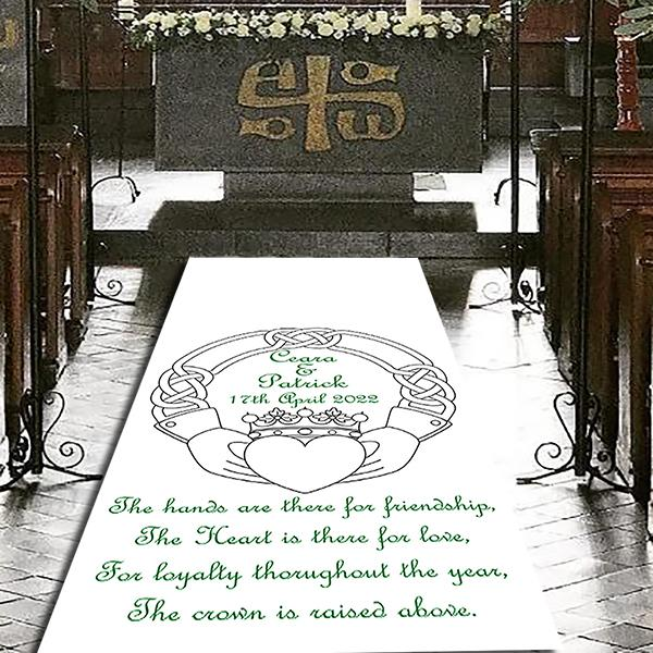 Claddagh Irish Personalised Wedding Aisle Runner