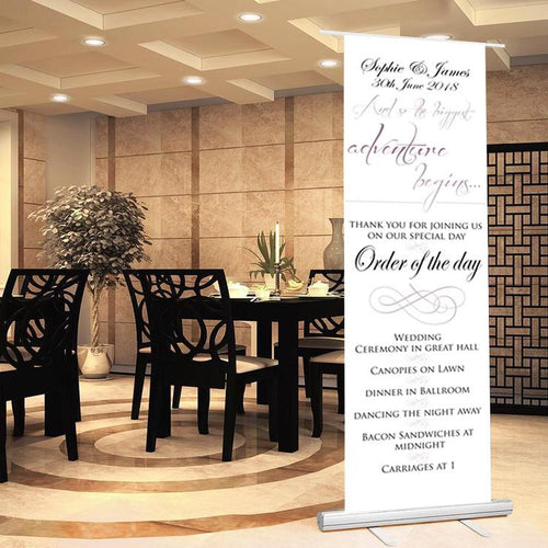 Wedding sign wedding banner welcome to wedding sign order of the day sign bride groom date of wedding wedding proceedings.