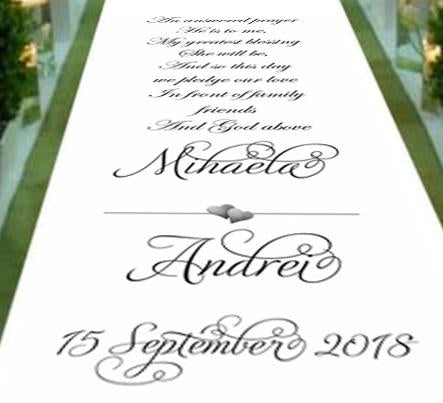 Personalised wedding aisle runner an answered prayer in view of friends and family and god above