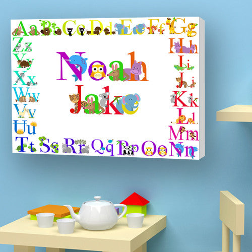 Animal alphabet child white canvas nursery bedroom birth christening birthday gift