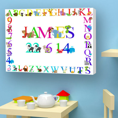 Animal Alphabet Child white Canvas Capital Letters Bedroom Nursery Birth christening Gift