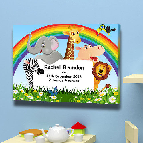 Rainbow birth announcement animals baby weight date of birth christening gift