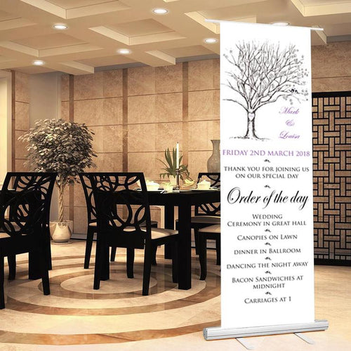Wedding welcome sign welcome order of the day sign wedding banner autumn tree